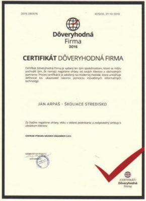 DOVERYHODNA FIRMA certifikat