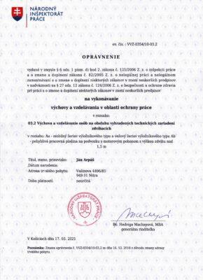 Opravnenie VVZ-0354-10-03.2 - Aa Ab