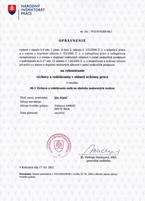 oprávnenie VVZ-0193- 09-06.1 obsluh motorovych vozikov